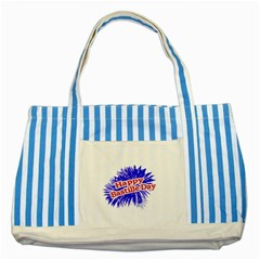 Happy Bastille Day Graphic Logo Striped Blue Tote Bag by dflcprints