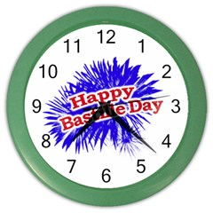 Happy Bastille Day Graphic Logo Color Wall Clocks by dflcprints