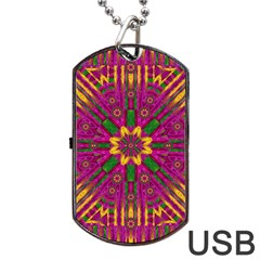 Feather Stars Mandala Pop Art Dog Tag Usb Flash (two Sides) by pepitasart