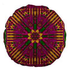 Feather Stars Mandala Pop Art Large 18  Premium Round Cushions by pepitasart