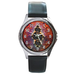 The Eye Of Julia, A Rainbow Fractal Paint Swirl Round Metal Watch by jayaprime