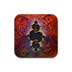 The Eye Of Julia, A Rainbow Fractal Paint Swirl Rubber Square Coaster (4 Pack)  by jayaprime