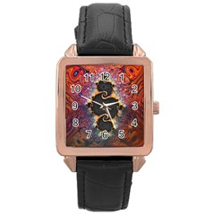 The Eye Of Julia, A Rainbow Fractal Paint Swirl Rose Gold Leather Watch  by jayaprime