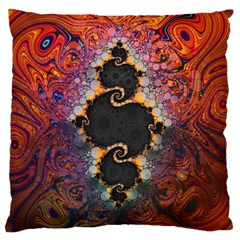 The Eye Of Julia, A Rainbow Fractal Paint Swirl Standard Flano Cushion Case (two Sides) by jayaprime