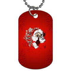 Funny Santa Claus  On Red Background Dog Tag (one Side) by FantasyWorld7