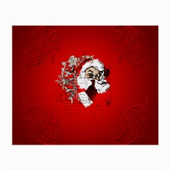 Funny Santa Claus  On Red Background Small Glasses Cloth by FantasyWorld7