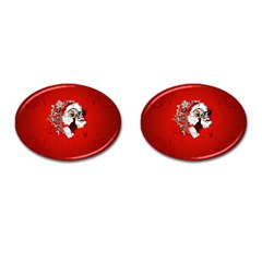 Funny Santa Claus  On Red Background Cufflinks (oval) by FantasyWorld7