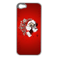 Funny Santa Claus  On Red Background Apple Iphone 5 Case (silver) by FantasyWorld7