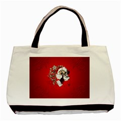 Funny Santa Claus  On Red Background Basic Tote Bag (two Sides) by FantasyWorld7