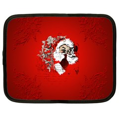Funny Santa Claus  On Red Background Netbook Case (xl)  by FantasyWorld7