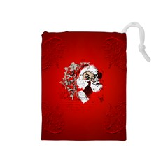 Funny Santa Claus  On Red Background Drawstring Pouches (medium)  by FantasyWorld7