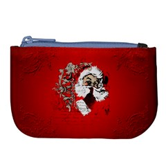 Funny Santa Claus  On Red Background Large Coin Purse by FantasyWorld7