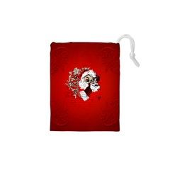 Funny Santa Claus  On Red Background Drawstring Pouches (xs)  by FantasyWorld7