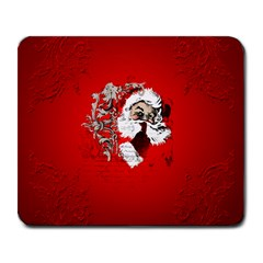 Funny Santa Claus  On Red Background Large Mousepads by FantasyWorld7