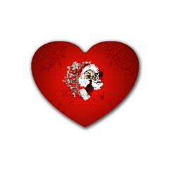 Funny Santa Claus  On Red Background Rubber Coaster (heart)  by FantasyWorld7