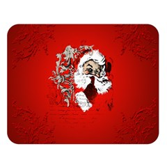 Funny Santa Claus  On Red Background Double Sided Flano Blanket (large)  by FantasyWorld7