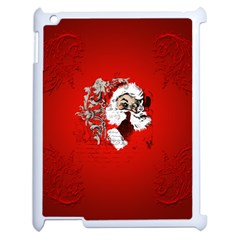 Funny Santa Claus  On Red Background Apple Ipad 2 Case (white) by FantasyWorld7