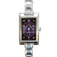 Beautiful Turquoise And Amethyst Fractal Jewelry Rectangle Italian Charm Watch by jayaprime