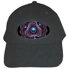 Beautiful Turquoise And Amethyst Fractal Jewelry Black Cap by jayaprime