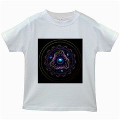 Beautiful Turquoise And Amethyst Fractal Jewelry Kids White T Shirts by jayaprime
