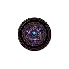 Beautiful Turquoise And Amethyst Fractal Jewelry Golf Ball Marker by jayaprime