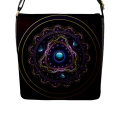 Beautiful Turquoise And Amethyst Fractal Jewelry Flap Messenger Bag (l)  by jayaprime