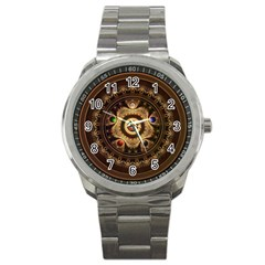 Gathering The Five Fractal Colors Of Magic Sport Metal Watch by jayaprime