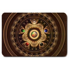 Gathering The Five Fractal Colors Of Magic Large Doormat  by jayaprime
