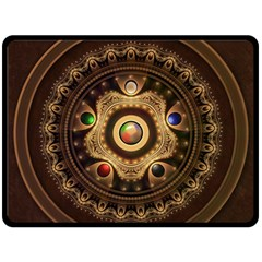 Gathering The Five Fractal Colors Of Magic Double Sided Fleece Blanket (large)  by jayaprime