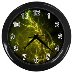 Beautiful Emerald Fairy Ferns In A Fractal Forest Wall Clocks (black) by jayaprime