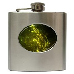 Beautiful Emerald Fairy Ferns In A Fractal Forest Hip Flask (6 Oz) by jayaprime