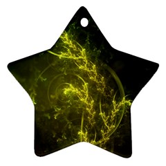 Beautiful Emerald Fairy Ferns In A Fractal Forest Star Ornament (two Sides) by jayaprime