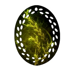 Beautiful Emerald Fairy Ferns In A Fractal Forest Oval Filigree Ornament (two Sides) by jayaprime