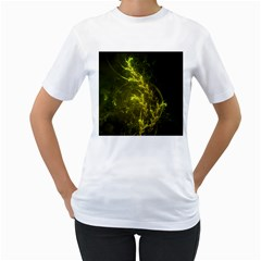 Beautiful Emerald Fairy Ferns In A Fractal Forest Women s T Shirt (white)  by jayaprime