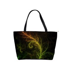 Fractal Hybrid Of Guzmania Tuti Fruitti And Ferns Shoulder Handbags by jayaprime