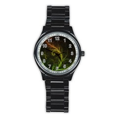 Fractal Hybrid Of Guzmania Tuti Fruitti And Ferns Stainless Steel Round Watch by jayaprime