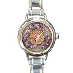 Pastel Pearl Lotus Garden Of Fractal Dahlia Flowers Round Italian Charm Watch by jayaprime
