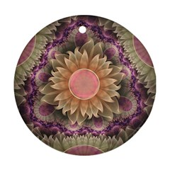 Pastel Pearl Lotus Garden Of Fractal Dahlia Flowers Ornament (round) by jayaprime