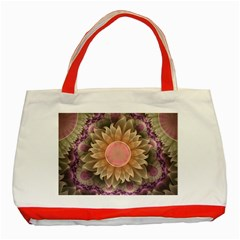 Pastel Pearl Lotus Garden Of Fractal Dahlia Flowers Classic Tote Bag (red) by jayaprime