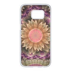 Pastel Pearl Lotus Garden Of Fractal Dahlia Flowers Samsung Galaxy S7 Edge White Seamless Case by jayaprime