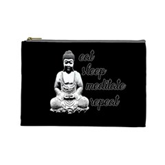 Eat, Sleep, Meditate, Repeat  Cosmetic Bag (large)  by Valentinaart