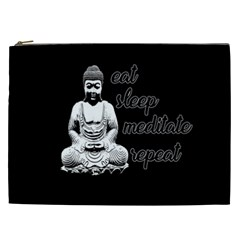 Eat, Sleep, Meditate, Repeat  Cosmetic Bag (xxl)  by Valentinaart