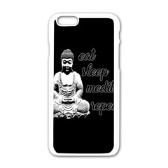 Eat, Sleep, Meditate, Repeat  Apple Iphone 6/6s White Enamel Case
