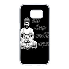 Eat, Sleep, Meditate, Repeat  Samsung Galaxy S7 Edge White Seamless Case