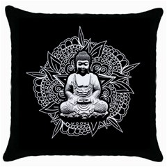 Ornate Buddha Throw Pillow Case (black) by Valentinaart