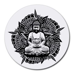 Ornate Buddha Round Mousepads by Valentinaart