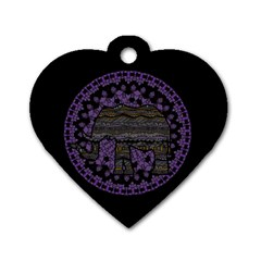Ornate Mandala Elephant  Dog Tag Heart (two Sides) by Valentinaart