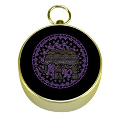 Ornate Mandala Elephant  Gold Compasses by Valentinaart