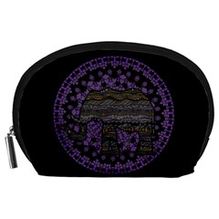 Ornate Mandala Elephant  Accessory Pouches (large)  by Valentinaart