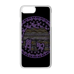 Ornate Mandala Elephant  Apple Iphone 7 Plus White Seamless Case by Valentinaart